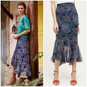 Anthropologie Vanessa Virginia Paisley Silk Skirt